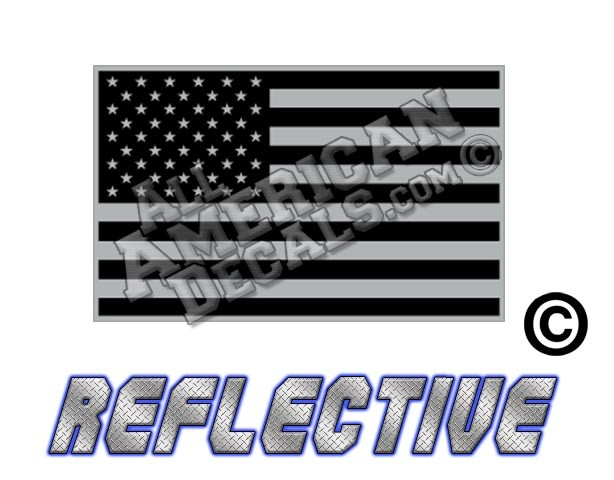 7638851bb577 Subdued Tactical American Flag Forward Facing Reflective Decal Black and  Grey