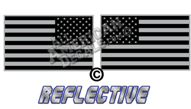 8c542b0099ec Subdued Tactical American Flag Set Forward   Reverse Facing Reflective Decal  Black and Grey