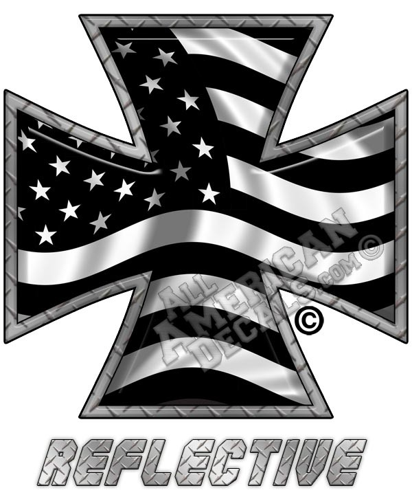 Subdued Tactical American Flag Iron Cross Forward Facing Reflective Decal