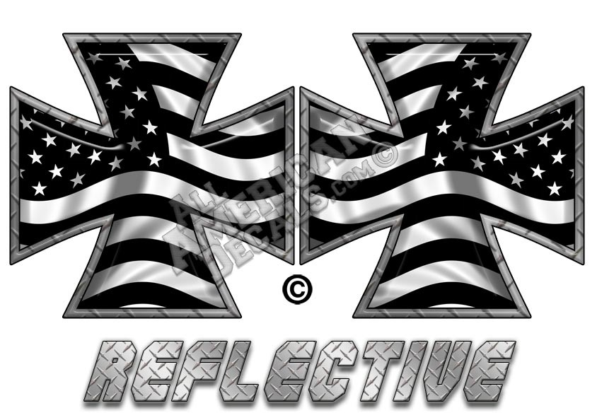 37f0f9a31f56 Subdued Tactical American Flag Iron Cross Forward   Reverse Facing  Reflective Decal Set