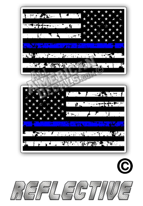 04030fe17ffc Distressed Thin Blue Line Subdued Tactical American Flag Set Forward    Reverse Facing Reflective Decal Black and Grey