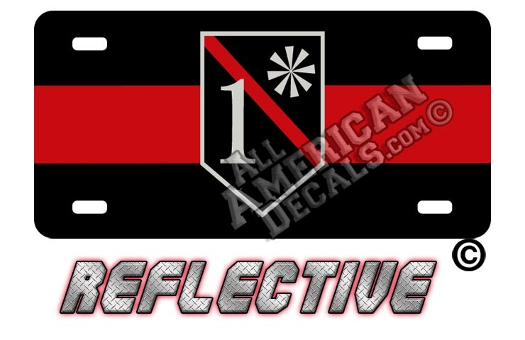 Thin Red Line 1* Ass to Risk Shield Reflective Metal License Plate
