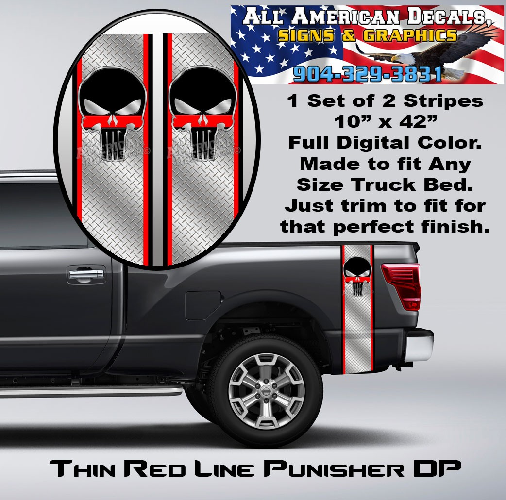 Thin Red Line Punisher Diamond Plate Truck Bed Band Stripe Decal Kit