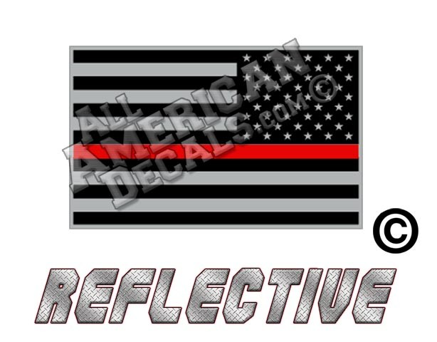 Two Pack Reverse Thin Red Line Subdued American Flag Sticker FA Graphix Firefighter EMT USA US
