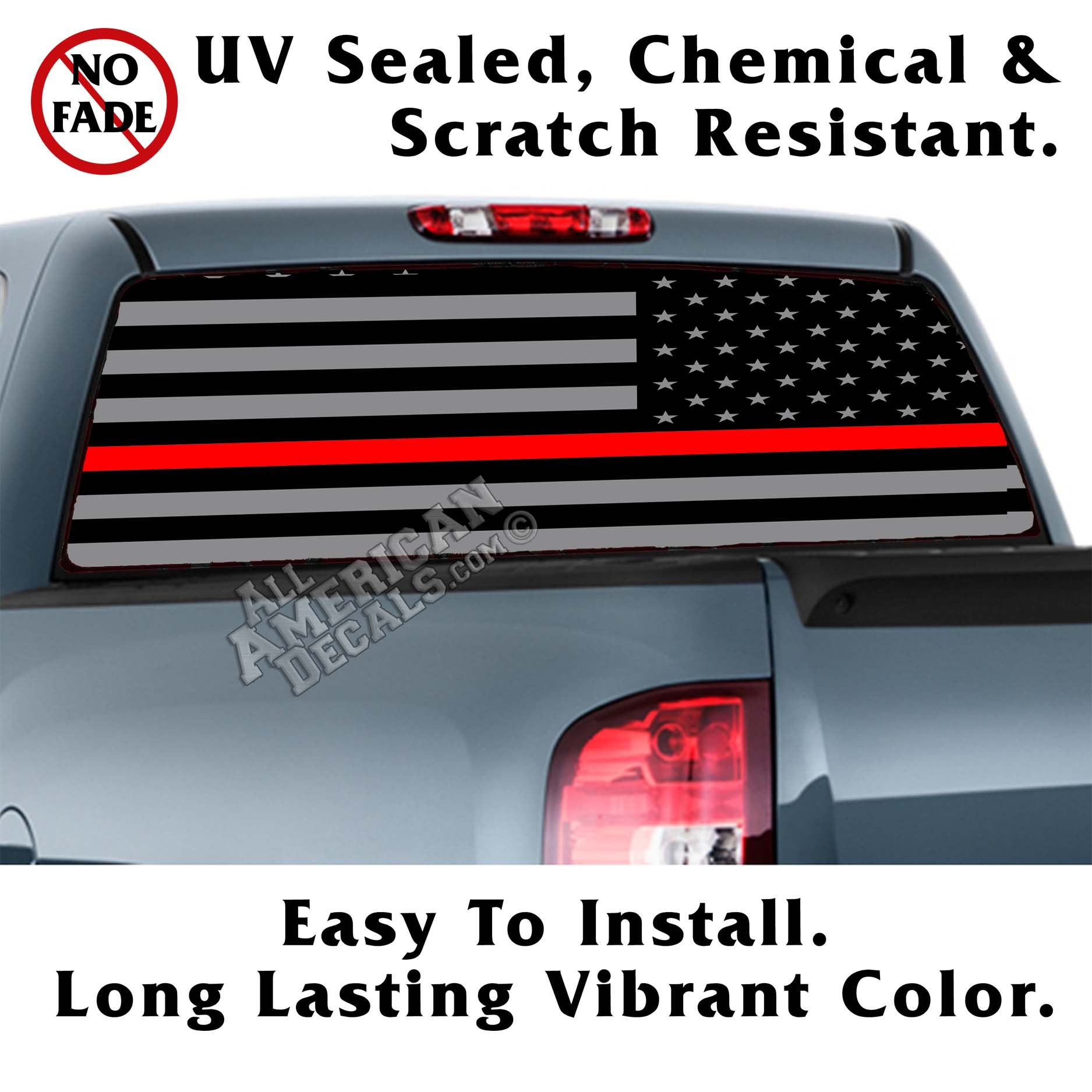 Thin Red Line Tactical American Flag Reverse Facing Back Window Graphic