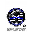 """Thin Blue Line """"Back The Blue"""" Punisher Round All Lives Matter Reflective Decal"""