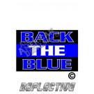 Thin Blue Line BACK THE BLUE Rectangle Reflective Decal