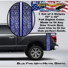 Blue Fire With Metal Grate Truck Bed Band Stripe Decal Kit