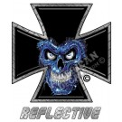Blue Skull Iron Cross Reflective Decal