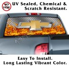 Chevy Diamond Plate & Flames Back Window Graphic