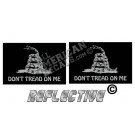 Subdued Tactical Don't Tread On Me Flag Black Face Set Reflective Decal