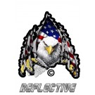 Eagle Claws Ripping Through Metal US FLAG Reflective Decal