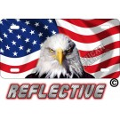 Wavy American Flag With Eagle Reflective Metal License Plate