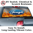 Ford Tough Diamond Plate & Flames Back Window Graphic
