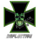 Green Skull Iron Cross Reflective Decal