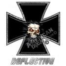 Fire Eyes Skull Iron Cross Reflective Decal