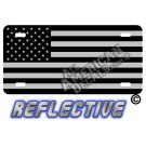 Subdued Tactical American Flag Forward Facing Reflective Metal License Plate