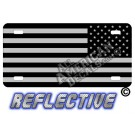 Subdued Tactical American Flag Reverse Facing Reflective Metal License Plate