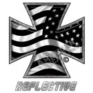 Subdued Tactical American Flag Iron Cross Reverse Facing