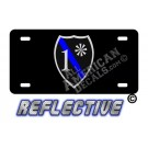 Thin Blue Line 1* Ass to Risk Badge Reflective Metal License Plate No Line