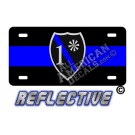 Thin Blue Line 1* Ass to Risk Badge Reflective Metal License Plate