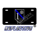 Thin Blue Line 1* Ass to Risk Shield Reflective Metal License Plate No Line