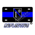 Thin Blue Line 1* Ass to Risk Shield Reflective Metal License Plate