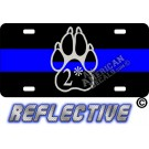 Thin Blue Line 2* Paw Straight Line Reflective Metal License Plate