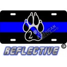 Thin Blue Line 2* Paw Tilted Line Reflective Metal License Plate