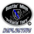 Thin Blue Line One Ass To Risk Badge Bustin' Mine Protecting Yours No Line Reflective Decal