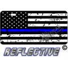 Thin Blue Line Distressed Tactical Flag Forward Facing Metal License Plate