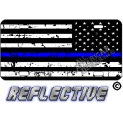 Thin Blue Line Distressed Tactical Flag Reverse Facing Metal License Plate
