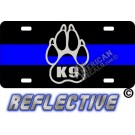 """Thin Blue Line """"K9"""" Paw Reflective Metal License Plate"""