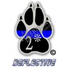 Thin Blue Line 2* Ass to Risk K-9 Paw Straight Line Reflective Decal