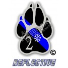 Thin Blue Line 2* Ass to Risk K-9 Paw Tilted Line Reflective Decal