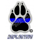Thin Blue Line K-9 Paw Reflective Decal
