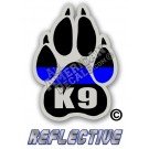 Thin Blue Line K-9 Paw K-9 Reflective Decal