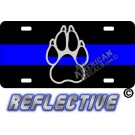 Thin Blue Line  Paw Reflective Metal License Plate