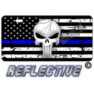 Punisher Thin Blue Line Distressed Tactical Flag Forward Facing Reflective Metal License Plate
