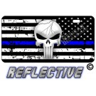 Punisher Thin Blue Line Distressed Tactical Flag Reverse Facing Metal License Plate.
