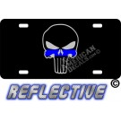 Thin Blue Line Punisher Reflective Metal License Plate