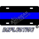 Thin Blue Line Reflective Metal License Plate