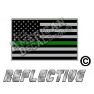 Thin Green Line Subdued Tactical American Flag Forward Facing Reflective Decal