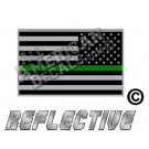 Thin Green Line Subdued Tactical American Flag Reverse Facing Reflective Decal