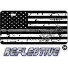 Thin Gray Line Distressed Tactical Flag Forward Facing Reflective Metal License Plate