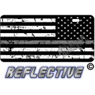 Thin Gray Line Distressed Tactical Flag Reverse Facing Reflective Metal License Plate