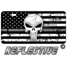Punisher Thin Gray Line Distressed Tactical Flag Forward Facing  License Plate