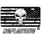 Punisher Thin Gray Line Distressed Tactical Flag Reverse Facing License Plate