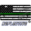 Thin Green Line Distressed Tactical Flag Forward Facing Metal License Plate