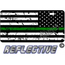 Thin Green Line Distressed Tactical Flag Reverse Facing Reflective Metal License Plate